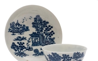 A large First Period Worcester blue and white teabowl and sa...