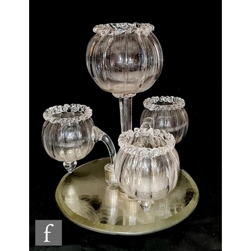A late 19th Century table centre epergne, the central posy v...