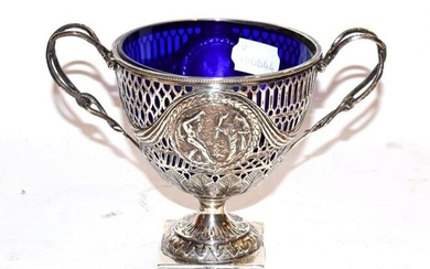 A late Victorian silver twin handled pedestal sugar basket by...