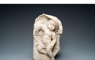 A marble figure of the infant Jesus lying on the cross, Fran...