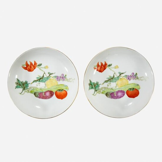 """A pair of Chinese porcelain """"Vegetable"""" dishes"""