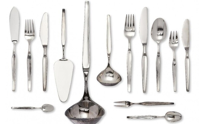 A set of German flatware for twelve, by Robbe & Berking, stamped 800, 20th century, designed with a beaded band to tapering squared stems, the set comprising: 12 table forks; 12 table spoons; 12 table knives; 24 dessert/fish forks; 12 fish knives;...