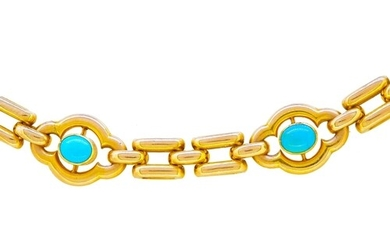 ANTIQUE VICTORIAN TURQUOISE LINK BRACELET, in 15-ct gold. 5 ...