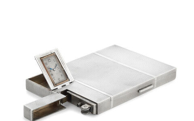 An Art Deco silver combination cigarette case lighter and watch