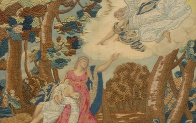 An early 19th century silk and wool work picture, Jochebed a...