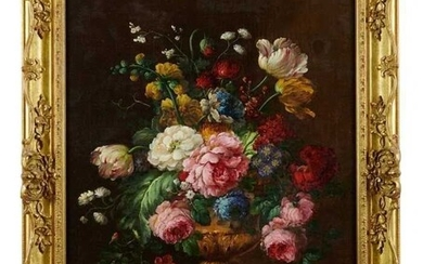 Attributed to Jan Van Os, 1744-1803, pair of oils on canvas, still life of flowers in a vase, on a marble draped plinth, apparently unsigned, 55 x 48 cm, later gilt frames.