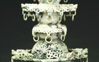 CARVED CHINESE JADE INCENSE BURNER.