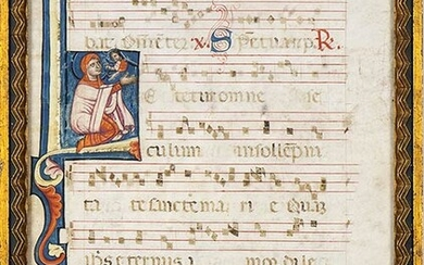 """CENTRAL-ITALIAN MINIATURE ARTIST, 14th CENTURY Antiphonary with initial letter """"L""""..."""