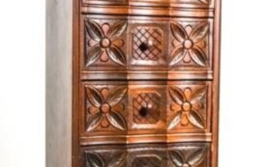 Carved Jacobean Style Walnut Chest