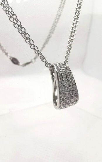 Cielo Milano - 18 kt. White gold - Necklace with pendant - 0.55 ct Diamonds
