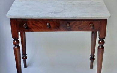 DRESSING TABLE, Victorian flame mahogany with Carrara white ...