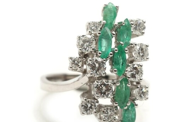 Emerald and diamond ring set with numerous brilliant-cut diamonds and marquise-cut emeralds. – Bruun Rasmussen Auctioneers of Fine Art
