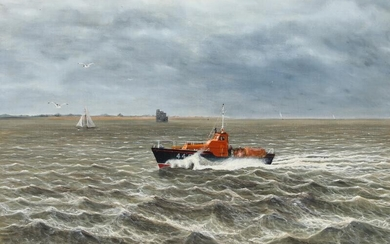 NOT SOLD. English painter, 20th century: The Sheerness Lifeboat, Helen Turnbull. Signed. Oil on canvas laid on board. 51 x 76.5 cm. – Bruun Rasmussen Auctioneers of Fine Art