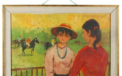 French School (20th century), Two Girls at a Horse Race