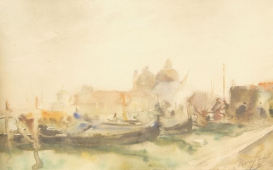 French School, early 20th century- View in Venice; watercolour, signed, 29 x 39 cm.