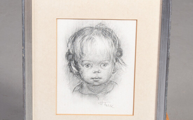 HILDEGARD FALK. Charcoal on paper. Portrait of a child, signed.