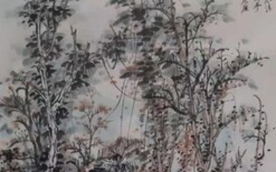 """Ink painting - Rice paper - 《后赤壁赋》""""scholars""""Made after Zhang Daqian - China - Late 20th century"""
