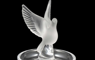 Lalique Crystal, Thalie, a frosted an clear glass dish