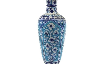 Large Multan pottery vase hand painted with stylised flowers...