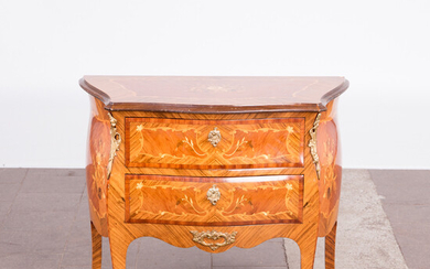 Louis XV style console table / chest of drawers, walnut, brass.
