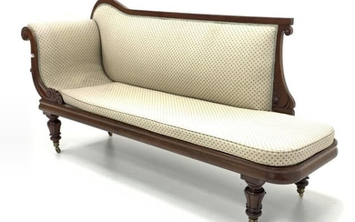 Mid 19th century mahogany upholstered chaise longue, with scrolled...