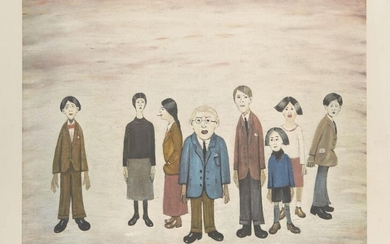 PROPERTY FROM THE ESTATES OF L.S. LOWRY AND THE LATE CAROL ANN LOWRY Laurence Stephen Lowry RBA RA, British 1887-1976- His Family; offset lithograph in colours on wove, signed in pencil, numbered 441 in inkstamp recto, printed by Chorley and...