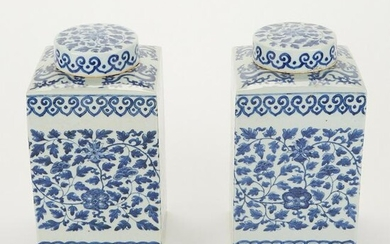 Pair of Chinese Export Blue & White Porcelain Ginger