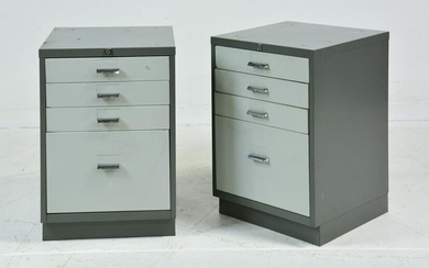 Pair of Industrial Night Stands / Cabinets