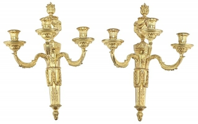 Pair of Louis XVI Style Gilt-Bronze Three-Branch Wall Lights