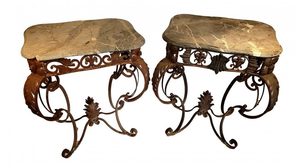 Pair of Stone and Iron Garden Tables - Vintage Patina