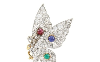 Platinum, Gold, Cabochon Ruby, Sapphire and Emerald Butterfly Brooch