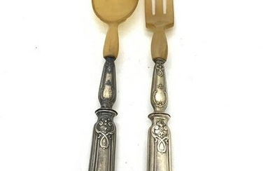 Pr Antq Silver Plated Horn Tipped Serving Utensils