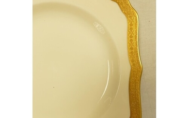 Royal Doulton H2908 Gold Encrusted on Ivory background dinne...