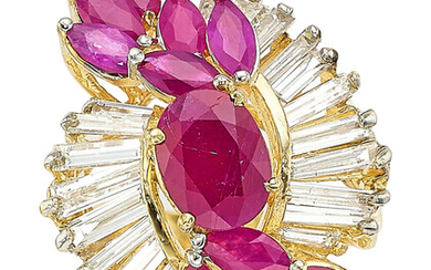 Ruby, Diamond, Gold Ring Stones: Oval and marquise-shaped rubies...