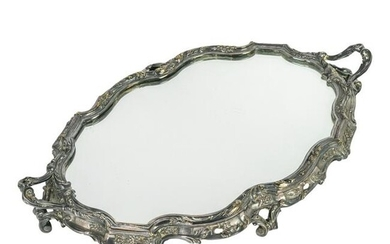 Silver Plated Ornate Floral Footed Mirror Plateau