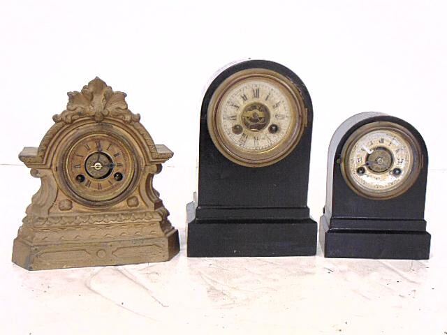 Terry Clocks- 3 Cast Iron, all running for time, Small