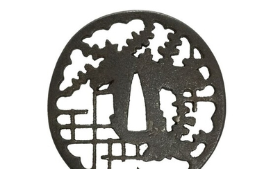 Tsuba (1) - Cast iron - Lattice Window - Antique Tsuba for Samurai Sword (T-140) - Japan - Edo Period (1600-1868)