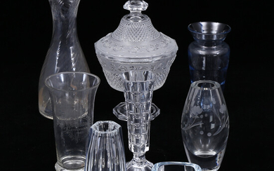 VASES, LID CAN, 7 parts, glass.