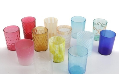 Victorian Cranberry and Other Glass Tumblers, Late 19th to Early 20th Century