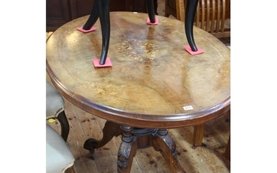 Victorian walnut and satinwood inlaid oval breakfast table r...