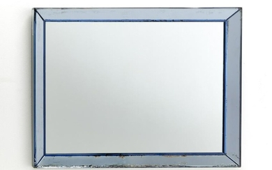 Wall mirror with light blue mirrored glass frame