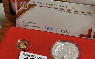 Winston Churchill South African 22ct Gold (3.93g) & Silver M...