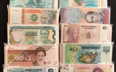 World - Lot various banknotes 10 x 100 different - (1000 banknotes)