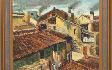 20th Century Oil on canvas - Aerial view of rooftops.