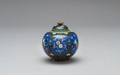 A CLOISONNÉ KORO WITH COVER