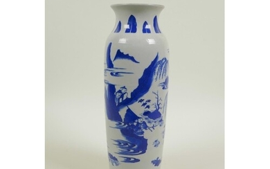 A Chinese blue and white vase decorated with warriors and tr...