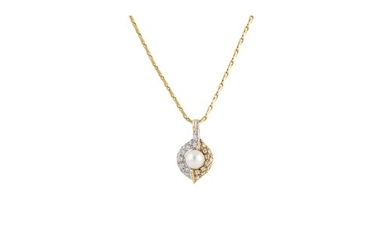 A DIAMOND AND PEARL CLUSTER PENDANT, the diamonds pavé set i...