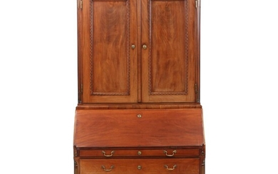 NOT SOLD. A Danish Louis XVI mahogany bureau with upper part and brass inlays. Interior of the drawers made from cedar wood. C. 1780. H. 234 cm. W. 122 cm. D. 59 cm. – Bruun Rasmussen Auctioneers of Fine Art