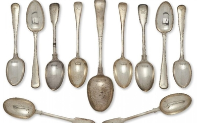 A Danish silver serving spoon, Copenhagen, c.1869, assay master Simon Groth, with reeded handle to plain bowl, together with four Danish silver tablespoons, Copenhagen, c.1851, assay master Peter R Hinnerup; a pair of Victorian silver serving...