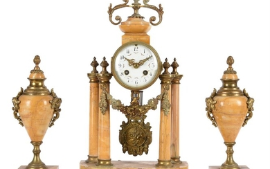 A FRENCH GILT BRASS MOUNTED SIENA MARBLE MANTEL CLOCK GARNITURE